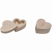 Kistje voor ringen / oorbellen beukenhout; Hartvorm