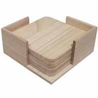 Onderzetters vierkant set van 6 in houder (0340)
