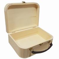 Kist / Koffertje met leren handvat grenen (9985)